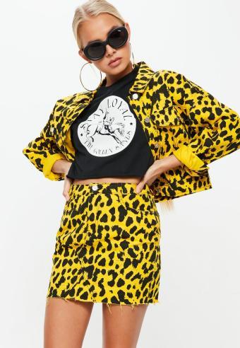 yellow-leopard-print-boxy-denim-mini-skirt